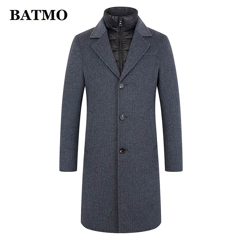 BATMO 2019 new arrival winter&autumn high quality 100% wool hooded trench coat men,men's wool jackets,plus-size M-5XL FND902