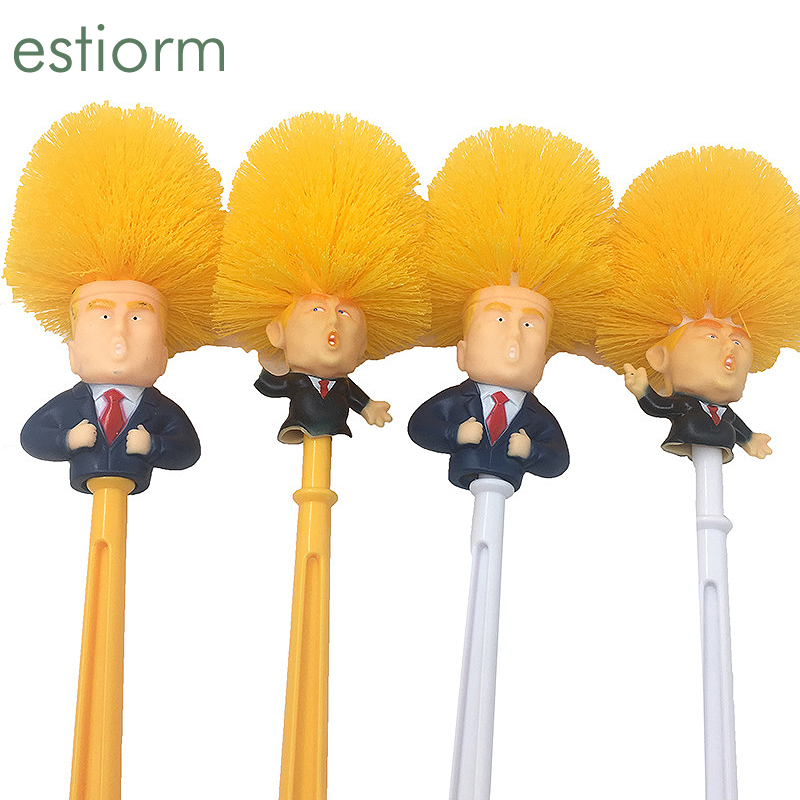 Donald Trump Toilet Brush Cleaner Scrubber Funny Trump Toilet Bowl Brush Bathroom WC Cleaning Brush With Holder Set Home Gift