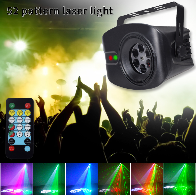 YSH LED Disco DJ Lights 60+4 Patterns RG Laser Projector Light RGB Party Lighting With Sound Activated For Stage Decoration