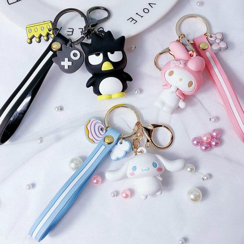 1 Pc Creative My Melody Pudding Cinnamoroll Dog Kuromi Keychain Bag Pendant Keyring for Girls Figure Toy-0