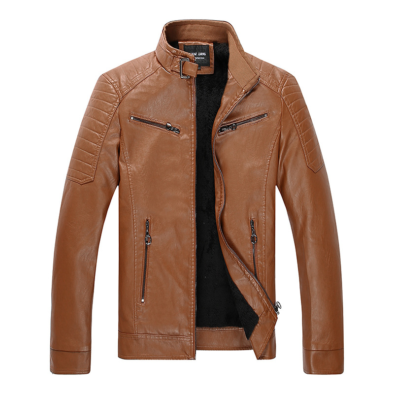 MEN'S Leather Coat-Style Fashion Man Leather Jacket Autumn And Winter New Style MEN'S Coat Stand Collar