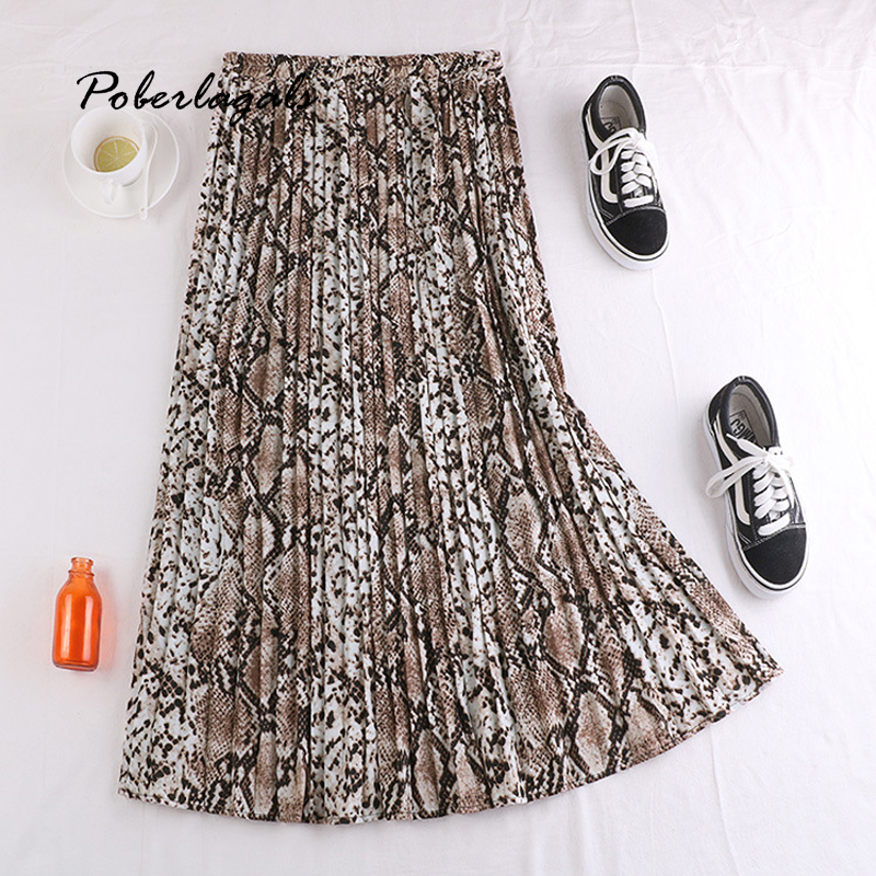 Autumn Winter Women Vintage Elegant Leopard Skirt 2019 Women Snake Print High Waist Pleated Skirts Womens Casual Skirts Female
