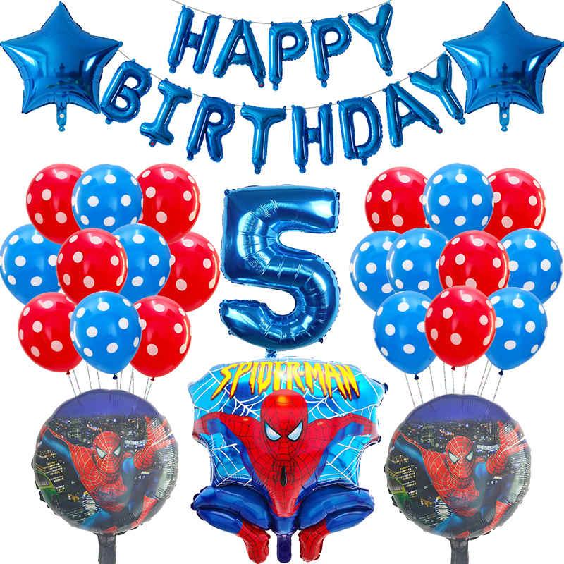 Balões laminados de hélio homem-aranha, 39 peças, balões de hélio, de número azul vermelho, para decoração de festa de aniversário, brinquedos infantis, meninos suprimentos