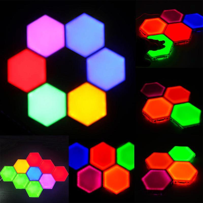 Colorful Sensitive Led Light Multicolo Quantum Flashlight Creative Night Lamp Modular Hexagon Panel Lights
