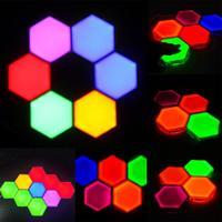 Luz Led sensible multicolor  linterna cuántica  lámpara nocturna creativa  Panel hexagonal Modular  luces
