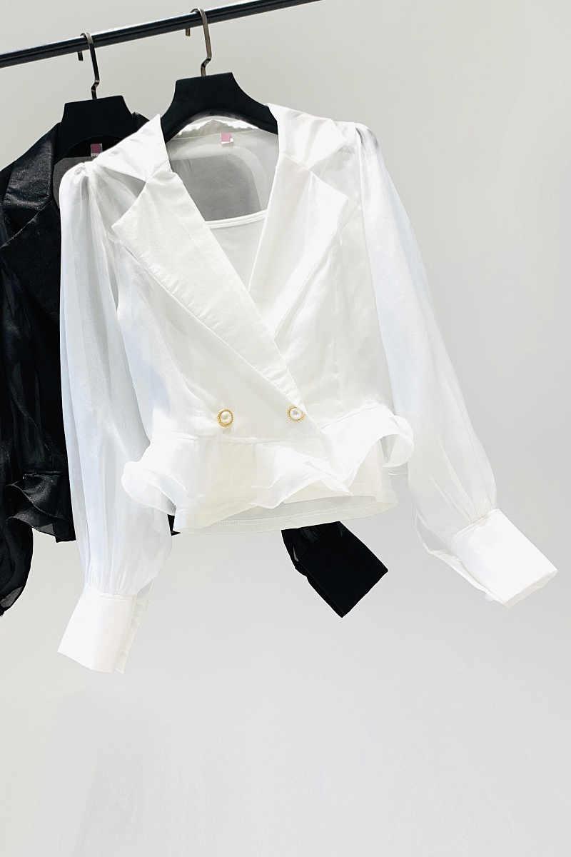 2020 Musim Gugur Kemeja Putih) Atasan Wanita Lentera Lengan Baru Korea Temperamen Slim Pinggang Baris Ganda Gesper Blus Kemeja Hitam Putih