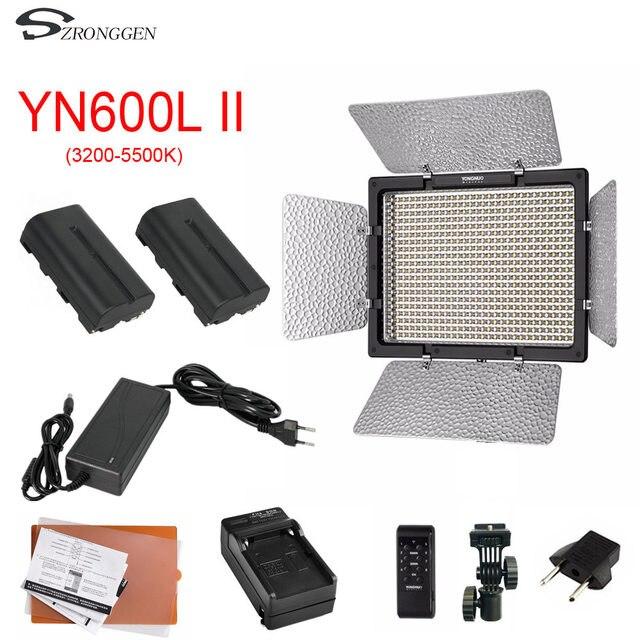 YONGNUO YN600L II YN600L II 600 LED Video Light Panel 3200 5500K + charger+NP F550 battery+AC Power Adapter