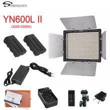 Yongnuo yn600l ii yn600l ii 600 led painel de luz de vídeo 3200 5500 k + carregador + NP F550 bateria + adaptador de energia ca