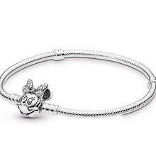 Bracelet Crystal Mickey Minnie Wholesale Snake-Chain 100pcs Love-Buckle Silver-Plated