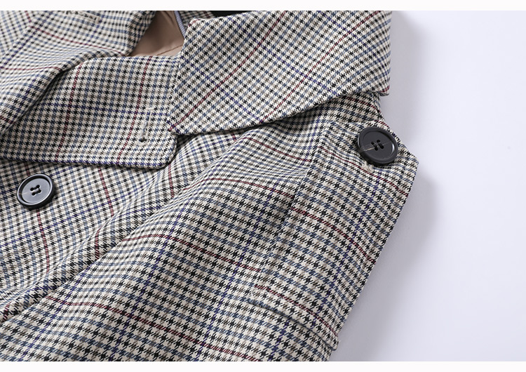 H5652d5a2002b4fbe937beed26eaf277bs Net red houndstooth plaid windbreaker jacket female spring and autumn Korean style mid-length popular double-breasted coat trend