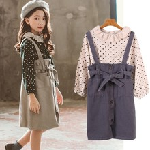 Kids clothing set 2 shirts  suspender skirt suit autumn spring children's clothing teenage girl clothes beige green spring autumn 3 12y girl suit set long sleeve top skirt girls clothing set cute owl costume for kids teenage clothes