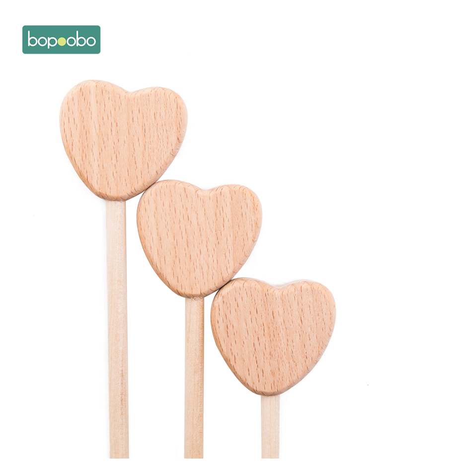 Bopoobo BPA Free Wooden Teether 10PCS Beech Wooden Moon Wooden Baby Gym Wooden Baby Teething Holding Toys Gym 0-12 Months Child
