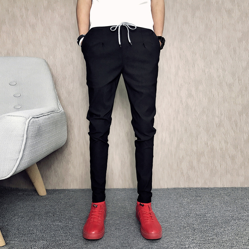 Deft Reds Spring And Autumn New Style Capri Pants Men's Slim Fit Pants Slimming Youth Beam Leg Harem Pants Social Fella