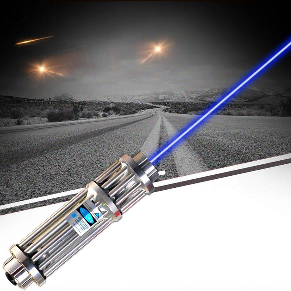 JSHFEI  USB Laser Pointer 445nm Class IV Powerful Gatling Laser Flashlight Built-in Battery Burning Match/Burn  /candle/ 500000m