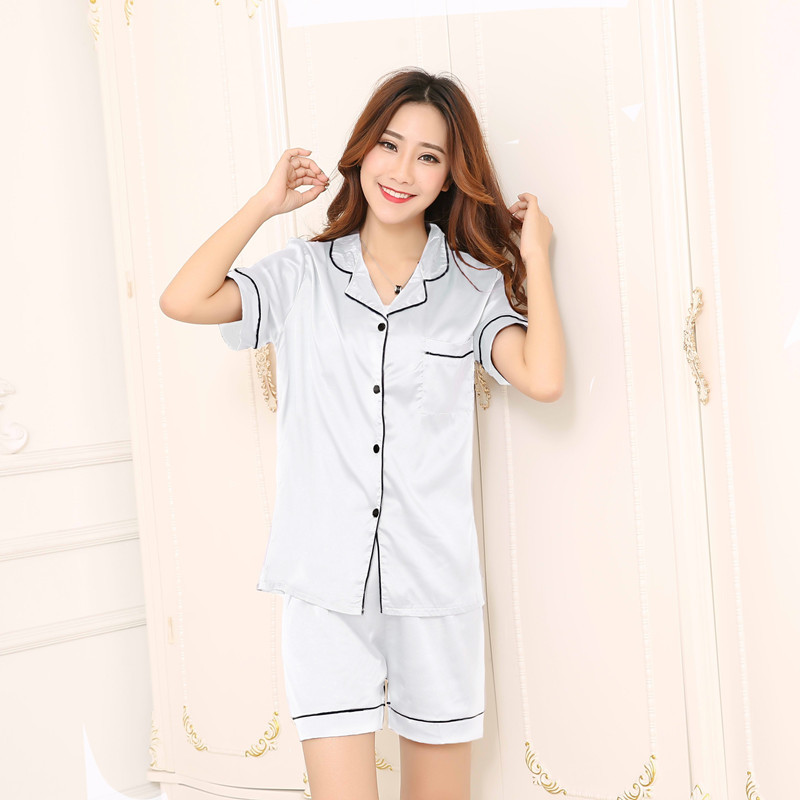 Summer Short-sleeved Shorts WOMEN'S Pajama Suit Hot Selling Large Size 5XL Imitated Silk Fabric Double Short Women's Pajamas