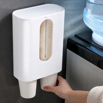 цена на Water Dispenser Cup Holder Automatic Disposable Cup Holder Plastic&Paper Cup Dispenser Storage Rack for Kitchen Hotel Restaurant