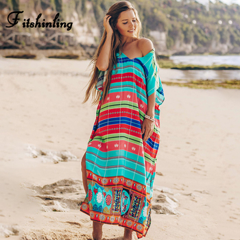 Fitshinling Striped V Neck Beach Cover-Up Print Split Sexy Maxi Dress Women 2020 Green Holiday Summer Pareos Boho Outing Sale