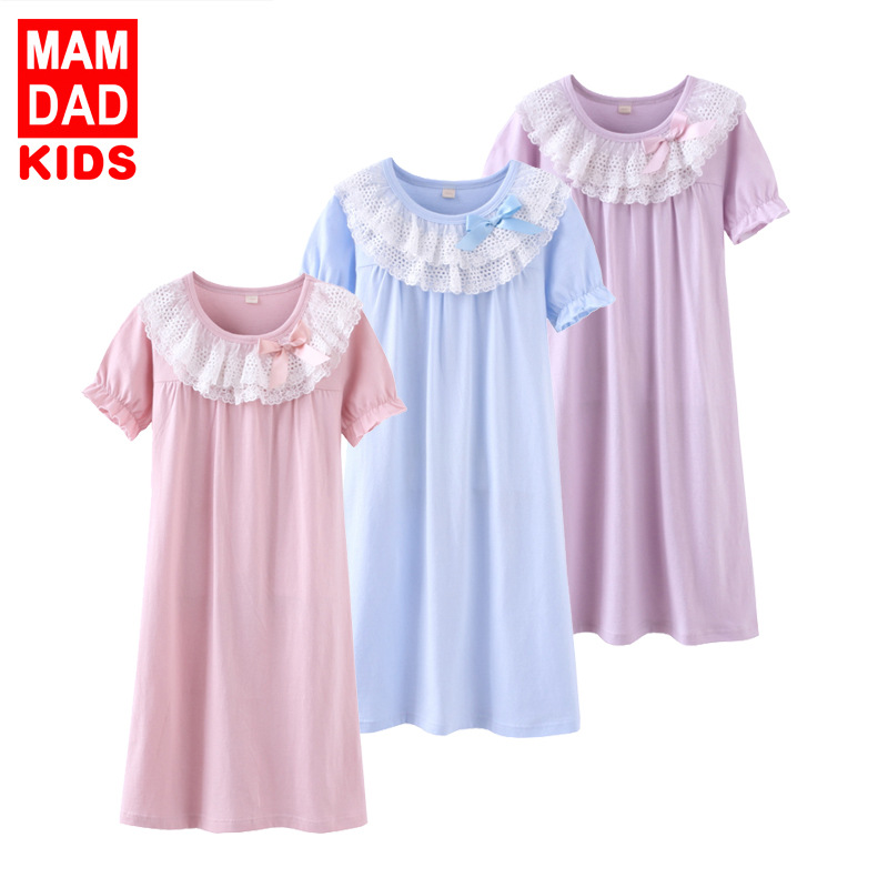 Girl'S Nightgown Cotton Short Sleeve Summer New Style Similar To Lace Baby Girls Pajamas Tracksuit BAMAQIN Home Wear