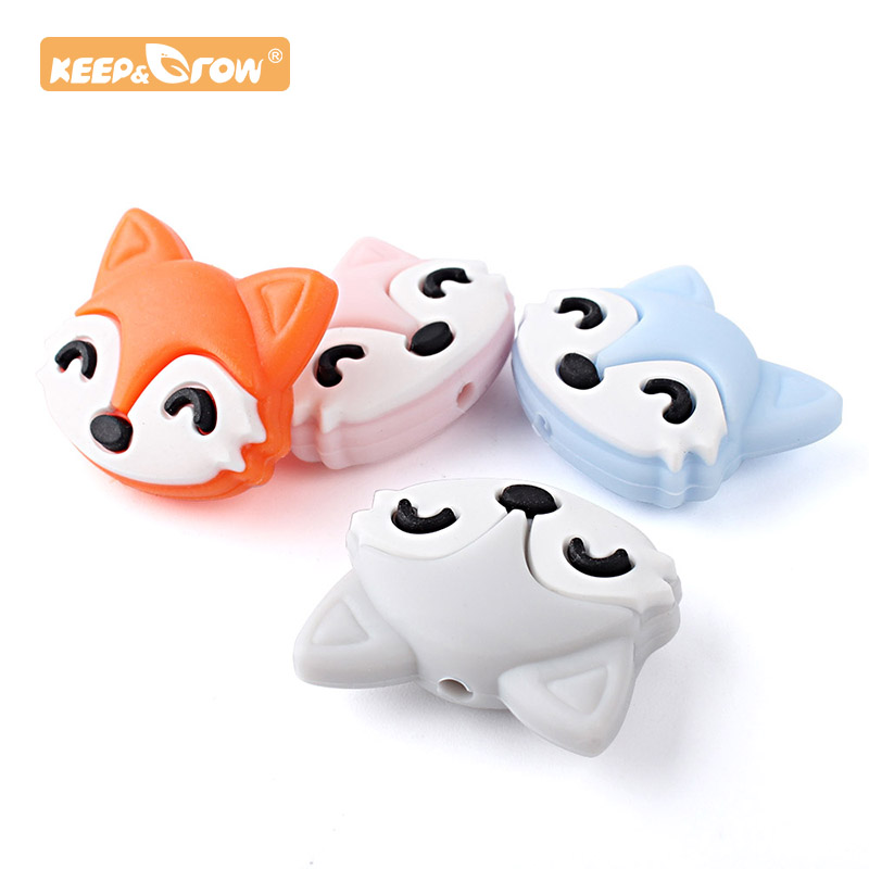 Keep&Grow 10pcs Fox Silicone Beads Food Grade Cartoon Teether Teething Necklace Toys DIY Nursing Beads Newborn Gifts