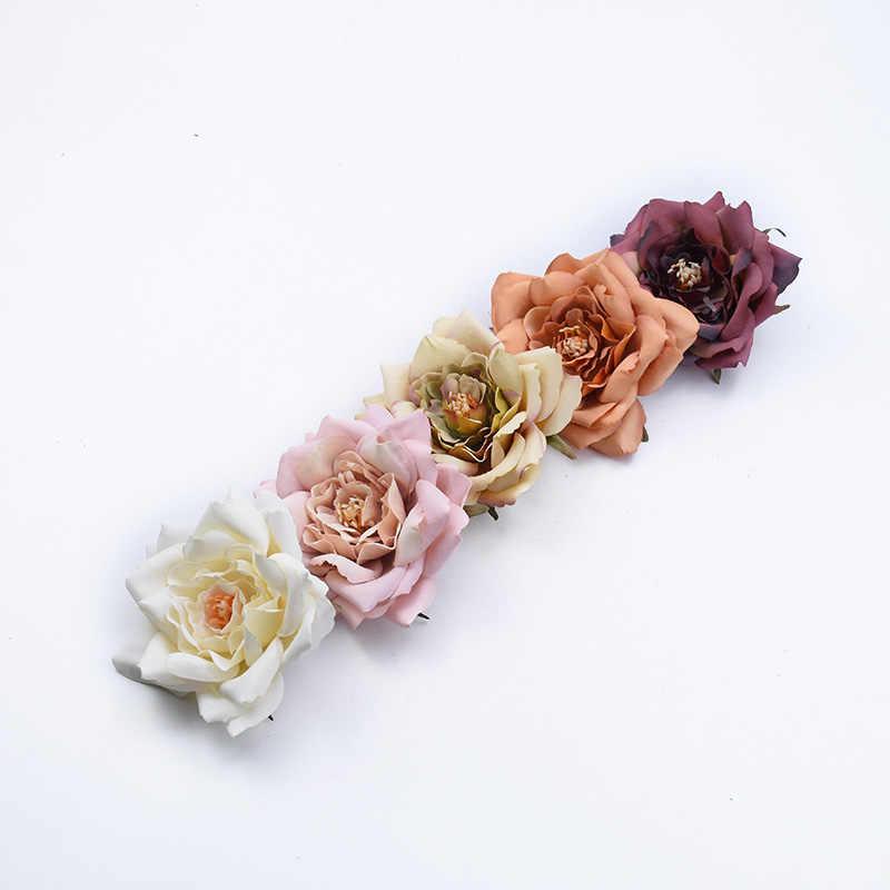 2pcs אבקן משי אדמונית ראש חתונת זרי פרחים דקורטיביים חג מולד קישוטים לבית אריזת מתנה מלאכותי פרחים זול