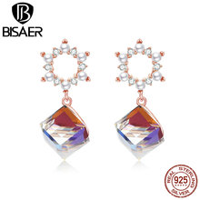 BISAER Stud Earrings Plant Rose Gold Shiny Earrings For Women Genuine 925 Sterling Silver Jewelry New Shiny High Quality HVE158 недорого