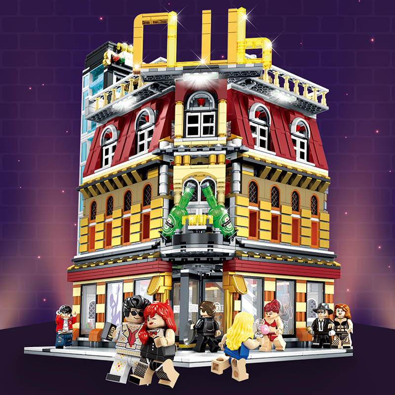 Image 5 - MOC Creator Expert LED 5in1 Luxury Night Club City Street View Building Blocks 2488 Piece Bricks Kids Gifts Toys For Children-in Blocks from Toys & Hobbies