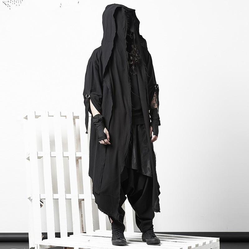 Dark Cloak Coat Personality Nightclub Coat Men's Tide Gothic Fake Two Pieces of Knee Robes Mens Trench Coat Jacket Long Coat