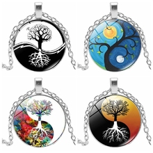 2019 New Yin and Yang Taiji Life Tree Series Time Glass Convex Round Pendant Necklace Small Gift Wholesale Statement Necklace 2019 new creative cartoon yin and yang black and white cat necklace gift glass convex round pendant necklace fashion jewelry