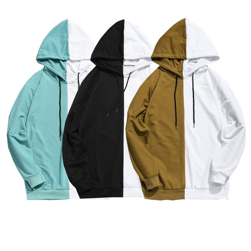 Adult Unisex Men Stitching Hoodie Cotton Hooded Jacket Jumper Causal Basic Blank Plain Sweatshirts