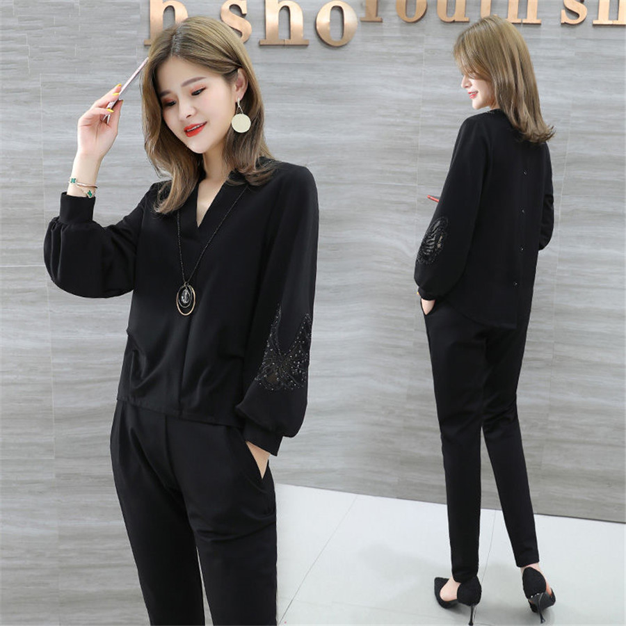 New 2019 Women 2 Piece Set Women Suit Female Long Sleeve V Nick Work Clothes Trousers Two-Piece Sets Foot Trousers