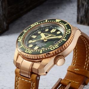 Image 4 - סן מרטין ברונזה צלילה שעון עסקי קלאסיקות אוטומטי גברים מכאני שעונים עור 300m מים עמיד זוהר Relojes