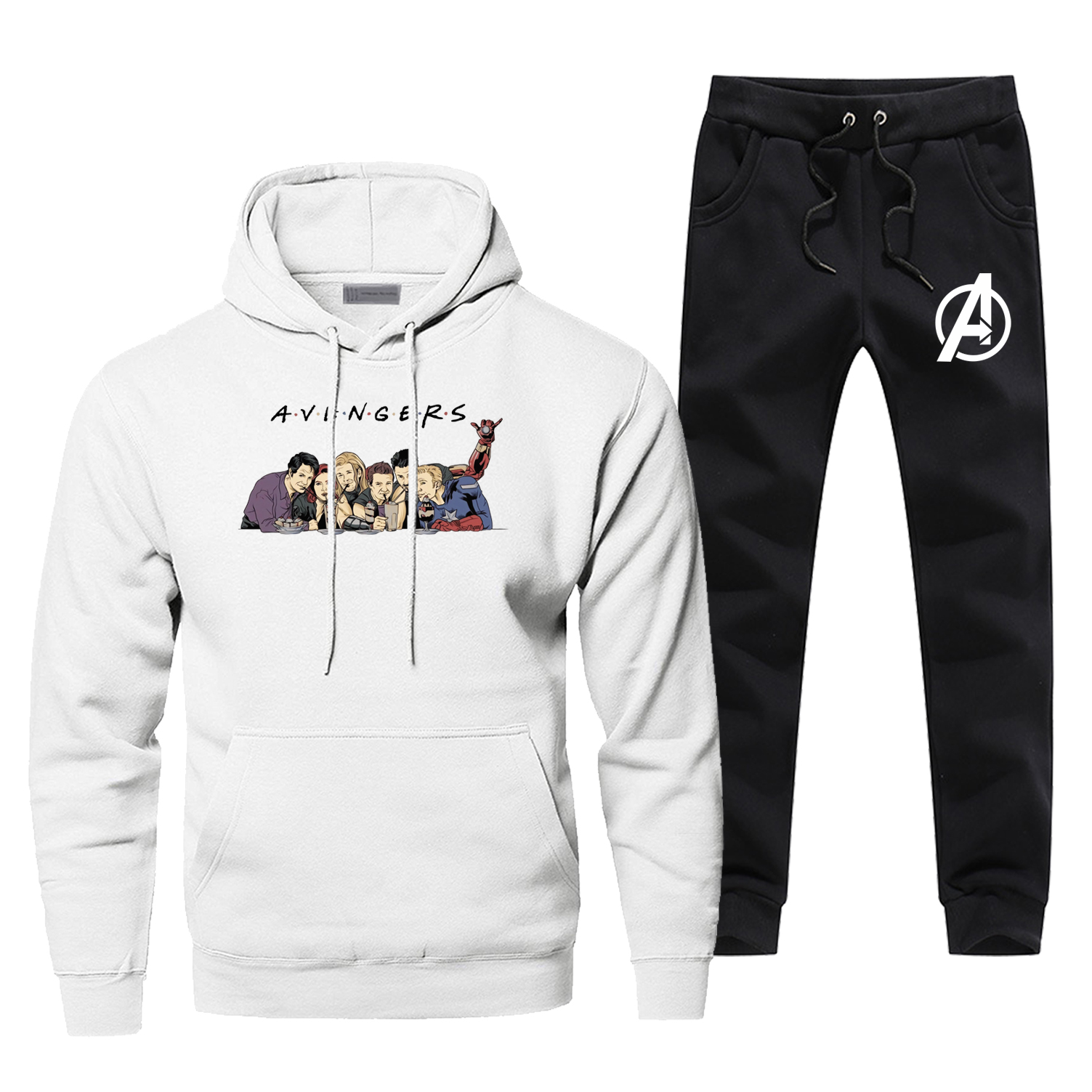 The Avengers Friends Hoodies Pants Men Sets Track Suit Set Tops Pant Sweatshirt Sweatpants Sportswear Autumn 2 PCS Tracksuit