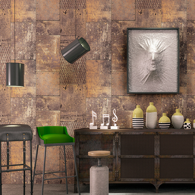 3D Nostalgic Metal Algam Industrial-Style Wallpaper Restaurant Cool Wall Bar Coffee Shop Retro Wallpaper