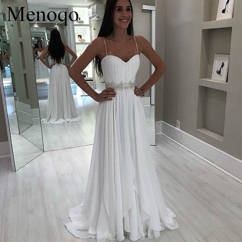 Chiffon Beach Wedding Dresses Spaghetti Straps White Ivory Robe De Mariee  New Bridal Dress Wedding Gowns