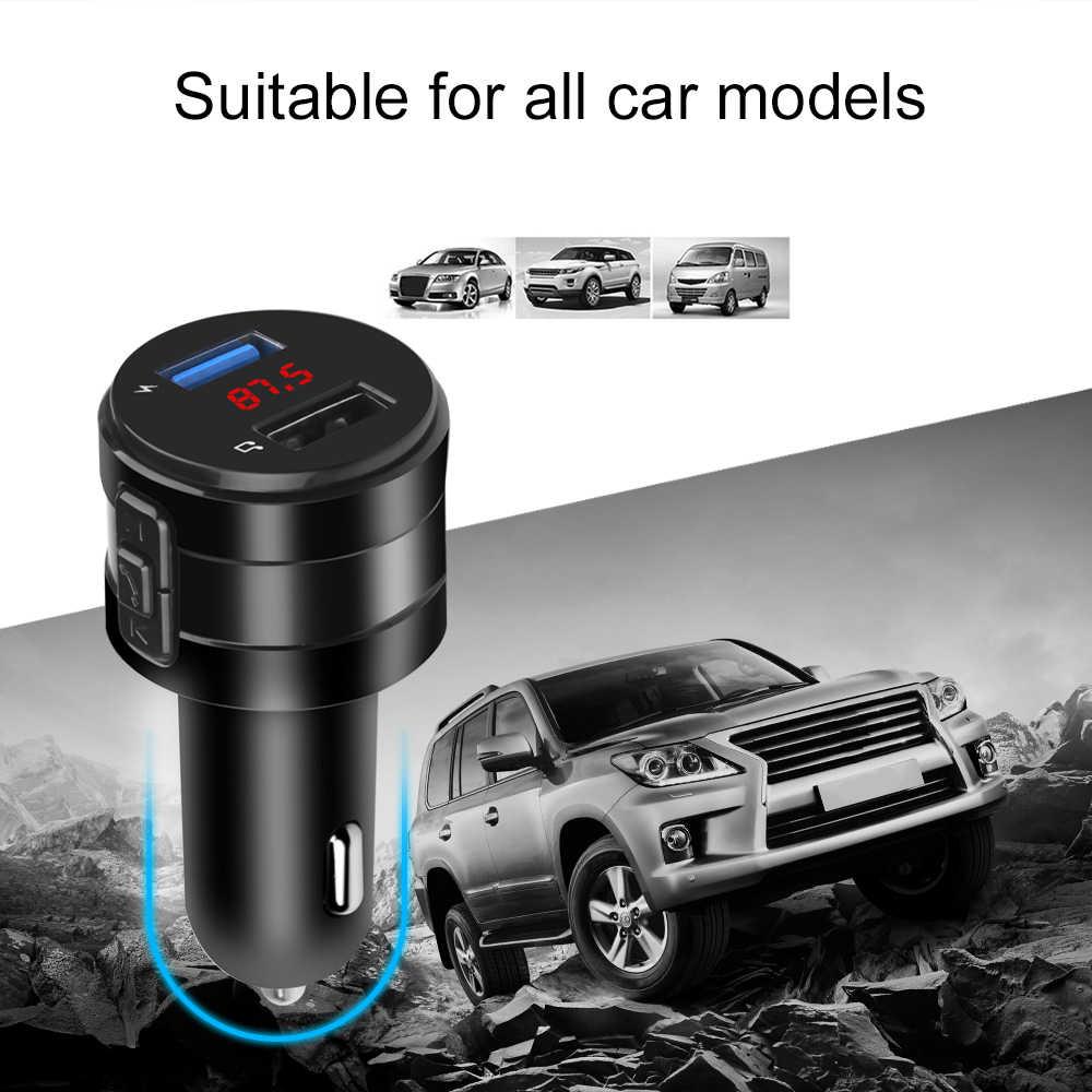 ハンズフリーの Bluetooth 4.2 FM トランスミッタ変調器車の充電器 3.1A デュアル USB アダプタ車 MP3 プレーヤーワイヤレスオーディオレシーバーブラック