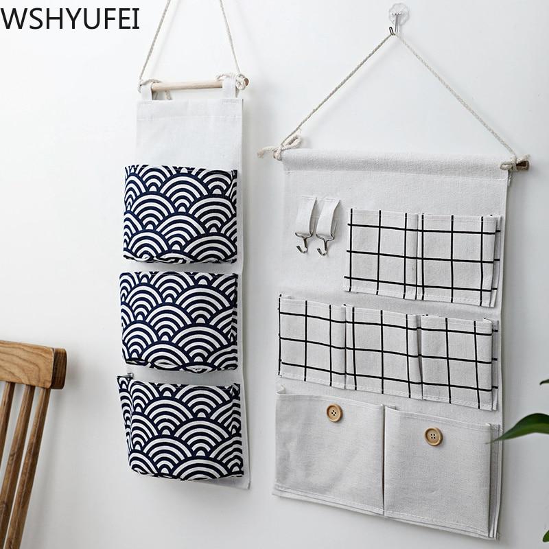 3/7 Storage Pockets Wall Door Waterproof Hanging Bathroom Linen Cotton Sundries Folding Trinkets Sorting Bag Home Decoration