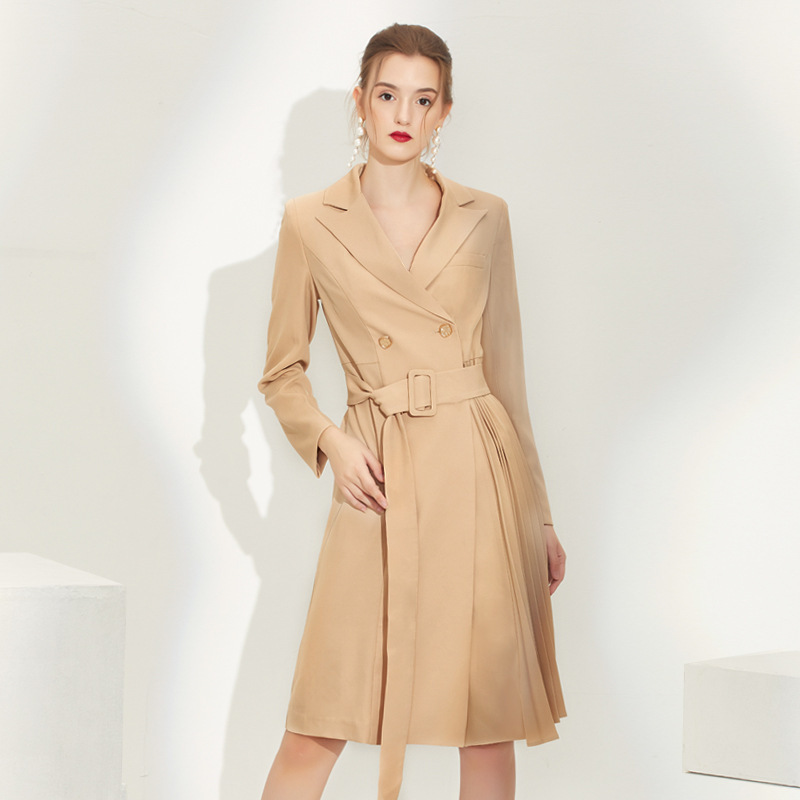 2020 New Arrival Women Dress Suit Jacket Vintage England Stylish Double Breasted Blazer With Belt Pleated Midi Knee Length Dress