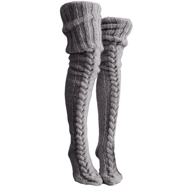 Thigh high Socks,Sexy Black Thigh High Over The Knee Socks 2020 Fashion Women s Long Knitted Stockings for Girls Ladies Women Winter Knit Socks-Beige/_76 x11 cm