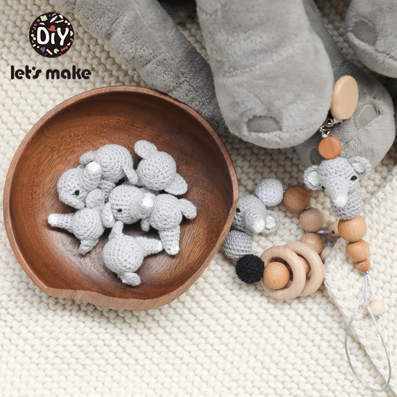 Let's Make 1pc Cartoon Teether Beads Pacifier Holder For Nipples Personalized Elephant Animal Teething Beads For Kids