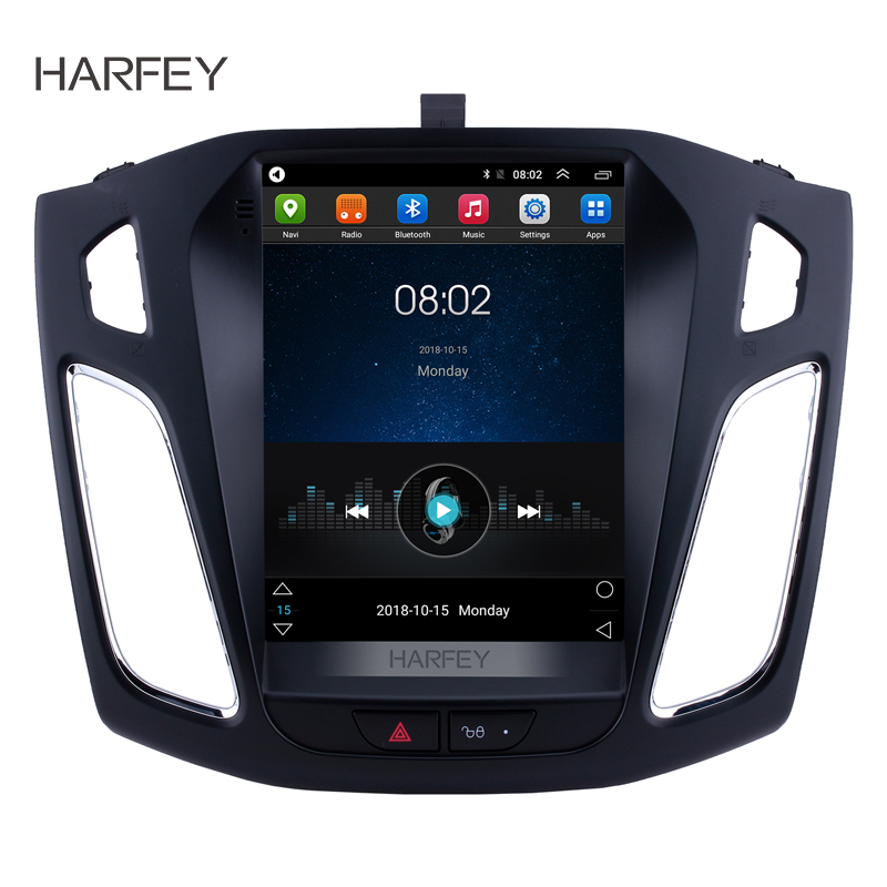 Harfey 9.7 inch Autoradio <font><b>GPS</b></font> Android 9.1 Car Stereo for <font><b>Ford</b></font> <font><b>Focus</b></font> 2012 2013 2014 2015 Head Unit Support OBD2 Rearview Camera image