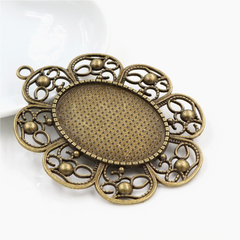 New Fashion  5pcs 30x40mm Inner Size Antique Bronze Pierced Style Cabochon Base Setting Charms Pendant (B1-04)
