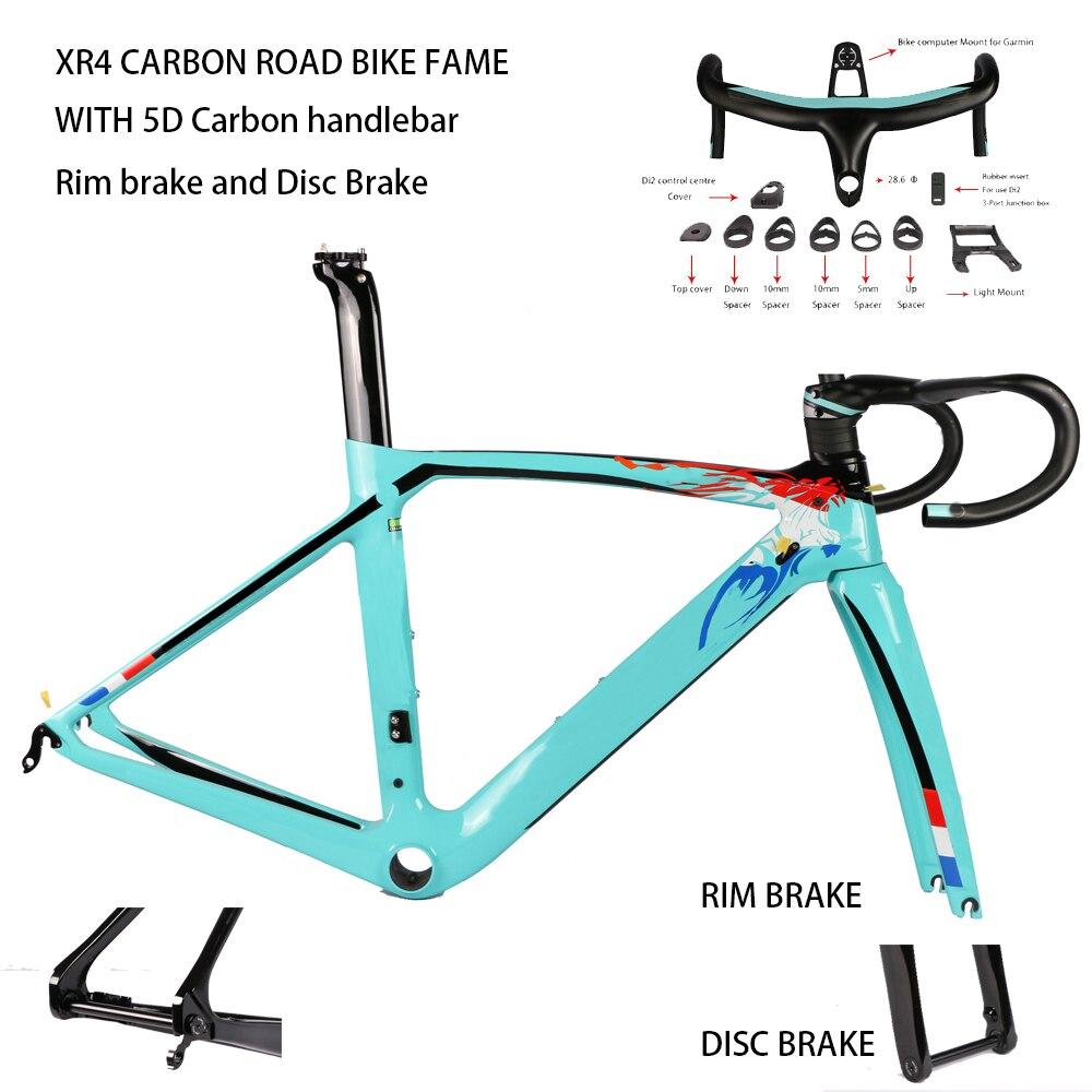 XR4 Carbon Fiber Road Bike Frame Fork Seatpost With 5D Carbon Handlebar UD Weave Rim Brake Disc Brake Carbon Frameset