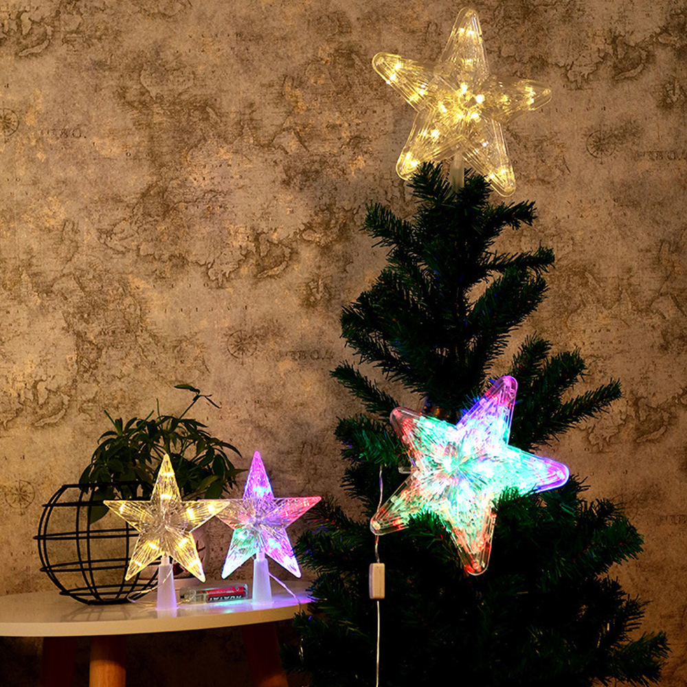 4 LED Flashing Mode Three Size Star Christmas Tree Topper Light Xmas Home Party Decor Lamp Battery Operated For Christmas Party
