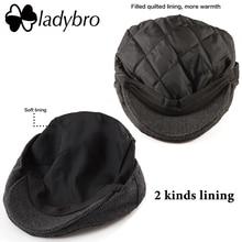 Ladybro Casual Men Newsboy Cap Irish Tweed Ivy Hat Flat Cap Autumn Winter Hat Men 30% Wool Hat Women Visor Cap Female Bone Male