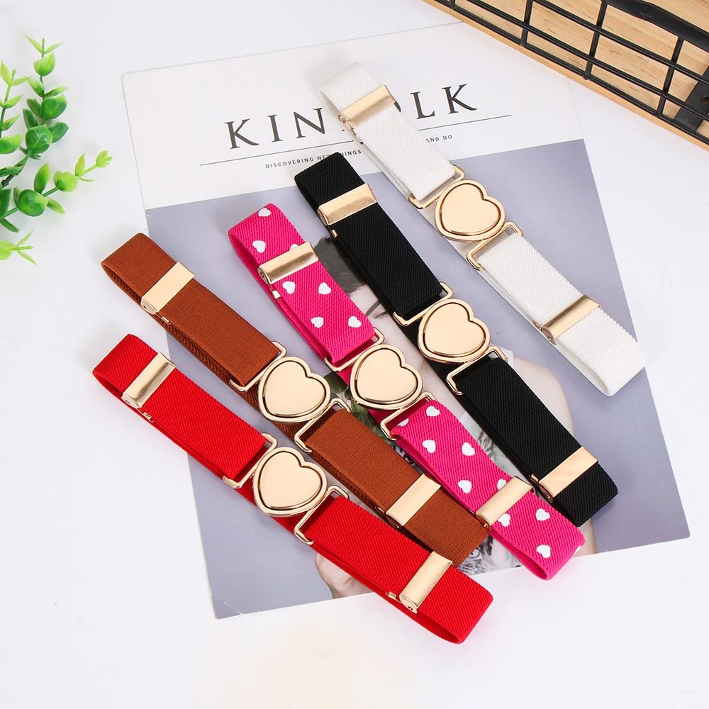 Multicolor Kids Elastic Belts Adjustable Girls Dresses Waist Belt Stretch Heart Belt Clothing Decoration Accessories