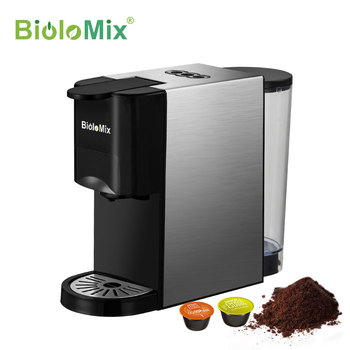 BioloMix 3 in 1 Espresso Coffee Machine 19Bar 1450W Multiple Capsule Coffee Maker Fit Nespresso,Dolce Gusto and Coffee Powder itop italian coffee machine 15bar 1450w 1 7l espresso coffee maker semi automatic milk foam electric coffee maker