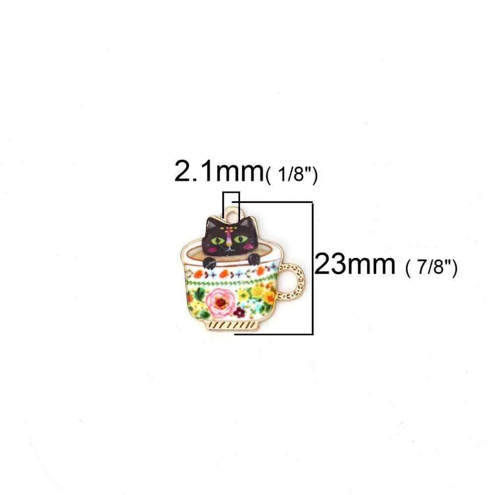 DoreenBeads โลหะผสมสังกะสีจี้ถ้วยทองโลหะ Multicolor Cat Charms แฟชั่นเครื่องประดับ DIY 23 มม.X 23 MM, 2 PCS