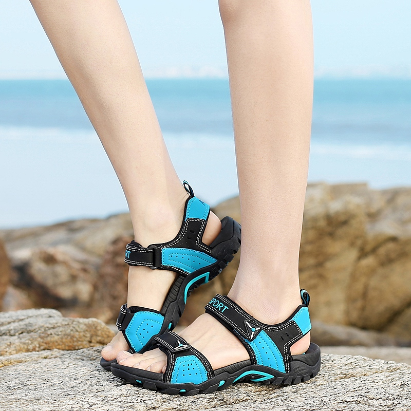 Genuine Leather Hook&Loop Outdoor Mens Sandals Summer Beach Trekking Sandalias Hombre Casual Sandal Man Sandles Open Shoes Men