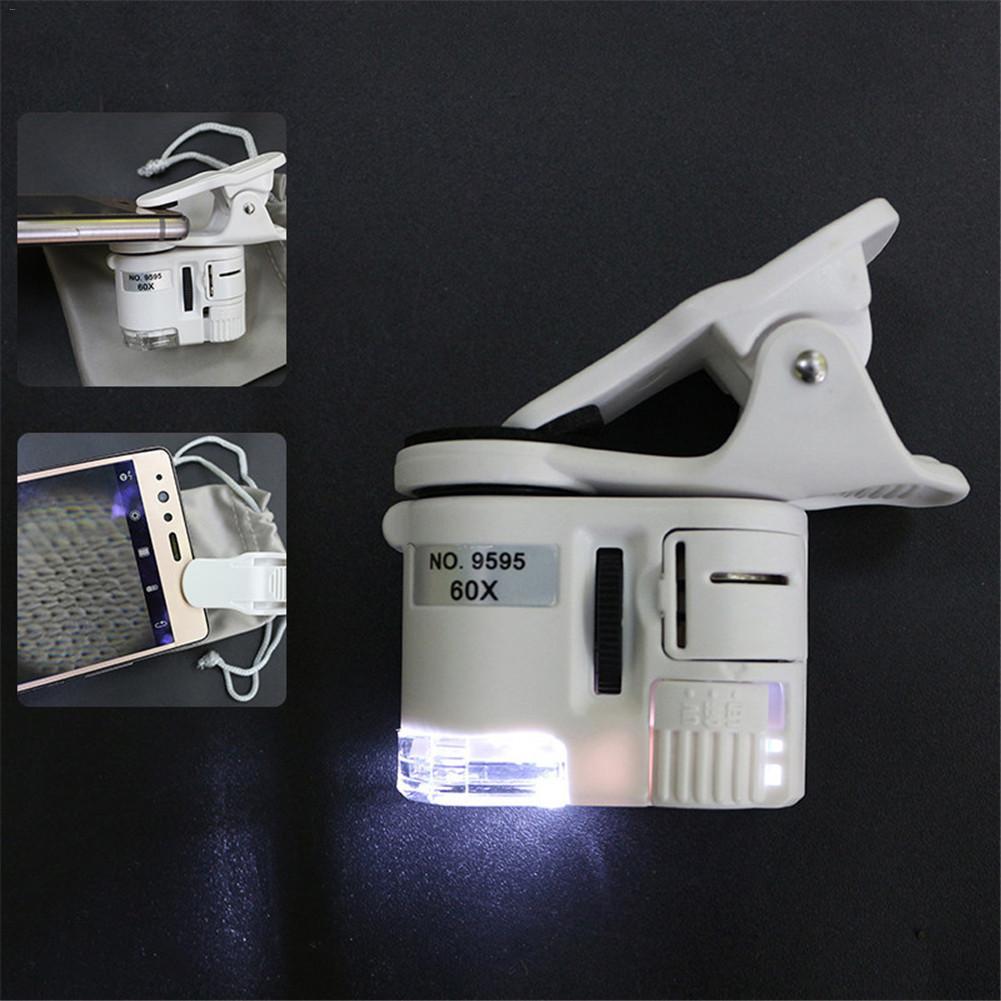 60X Mobile Phone Microscopio Jeweler Magnifier Clip Type Pocket Microscope