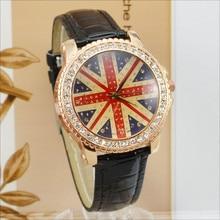 WOMAGE Women Watches Fashion British Flag Casual Crystal Quartz Leather relogios feminino